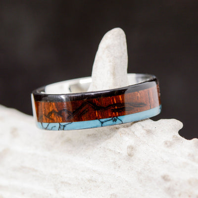 Rosewood, Turquoise, & Buffalo Tusk with Engraved Mt Pisgah Mountain