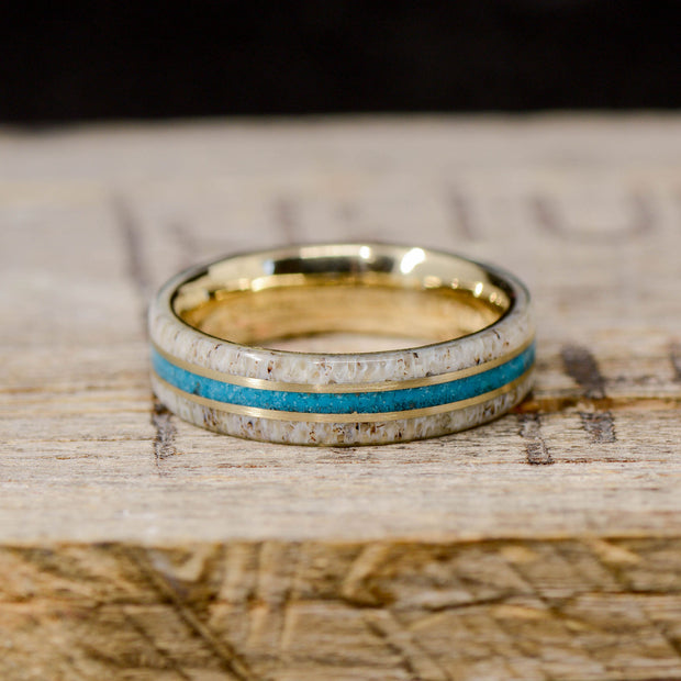 Turquoise, Antler, & Yellow Gold Pinstripes