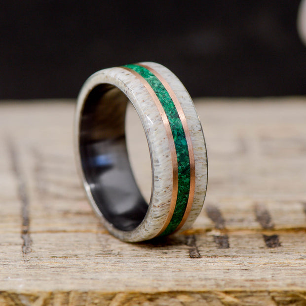 Malachite, Elk Antler, & Rose Gold Pinstripes