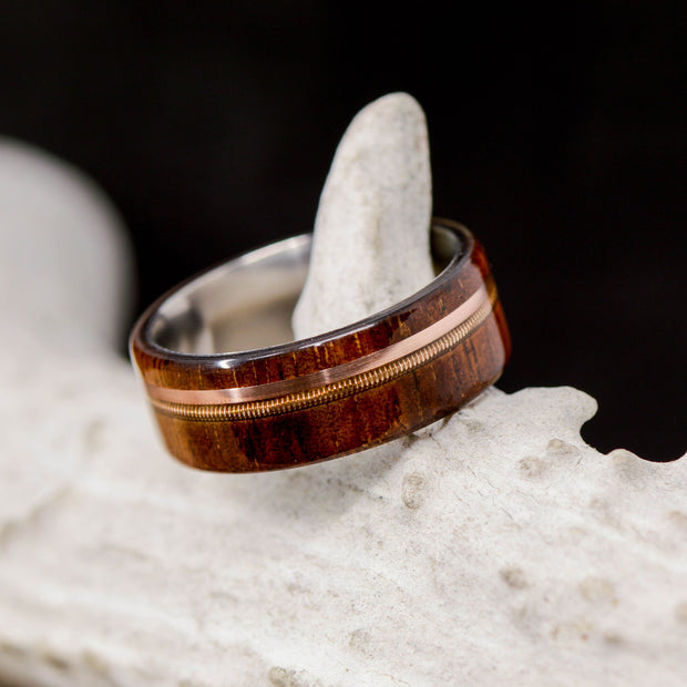 Koa wood, Rose Gold, & Brass Guitar String
