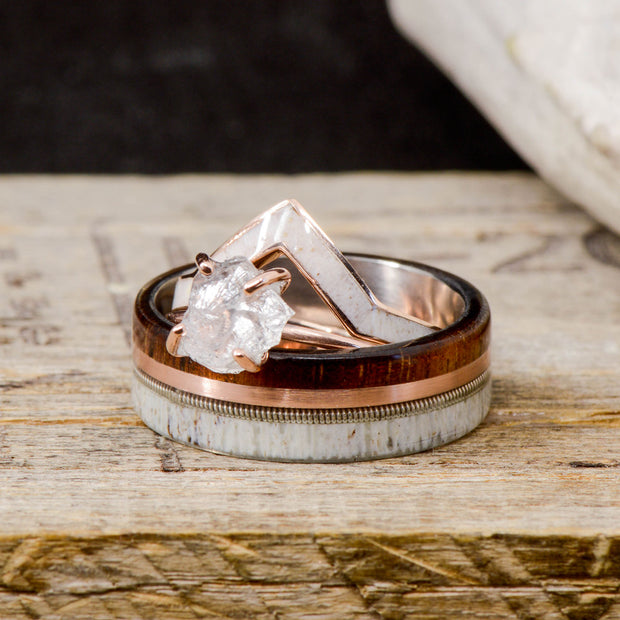 Koa Wood, Rose Gold, Guitar String, Antler, V-Ring & Crushed Quartz Ring