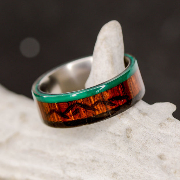 Rosewood, Imperial Jade, & Buffalo Tusk with Engraved Mountains