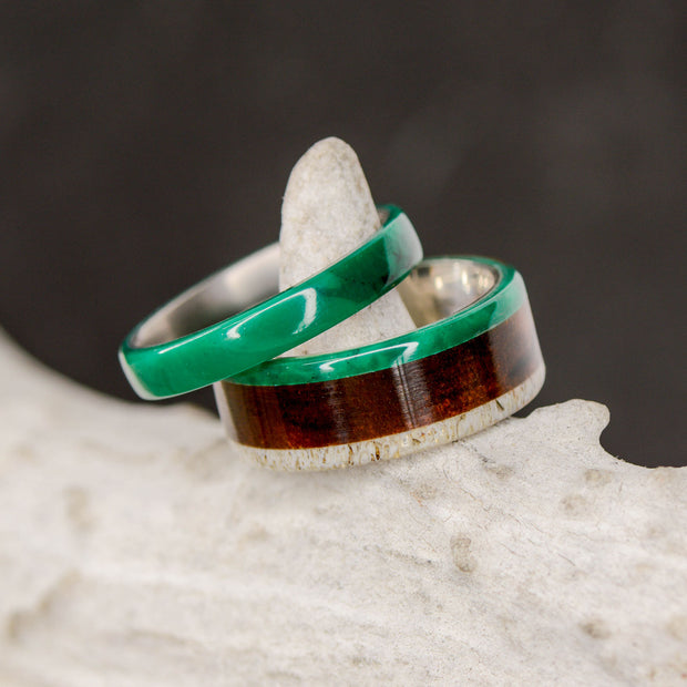Rosewood, Antler, &  All Imperial Jade with Engraved Mountains