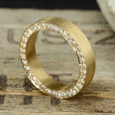 Gold Band with Side Set Diamonds