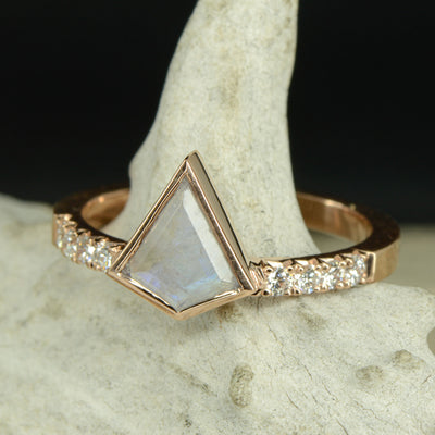 Kite Moonstone Engagement Ring with Diamond Accents