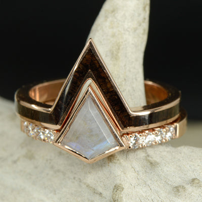 Kite Moonstone Engagement Ring with Diamond Accents & Blackwood V-Ring