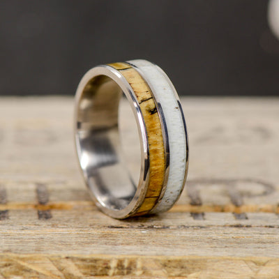 Spalted Maple Wood & Elk Antler Ring