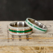 Antler, Green Malachite, & Rose Gold Pinstripes