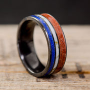Black Zirconium 4th of July Ring - Lapis, Red Opal, & Marble with Gold Matrix