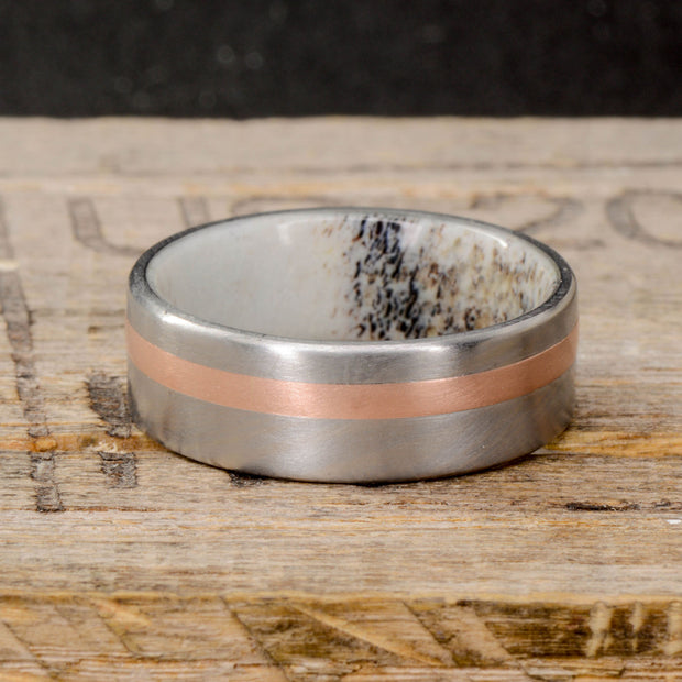 Rose Gold, Brushed Titanium, & Antler Inner Band
