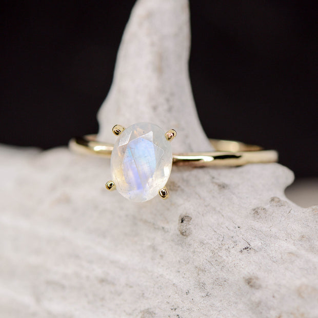 Yellow Gold Oval Moonstone Solitaire Setting