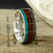 Chrysocolla, Koa Wood, & Meteorite with Engraved Mountains Channel