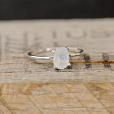 White Gold Oval Moonstone Solitaire Setting