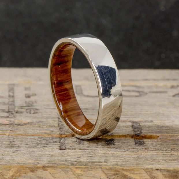 Sterling Silver with Oak Wood Inner Band 6mm