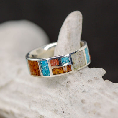 Ironwood, Antler, Red Coral, & Turquoise  in Geometric Design