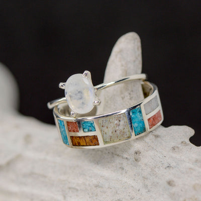 Moonstone Solitaire & Square Band with Turquoise, Ironwood, Antler, & Coral