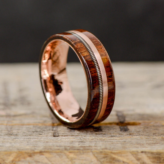 Ironwood, Rose Gold, & Silver Guitar String