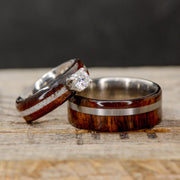 Koa Wood, Antler, & Moissanite Setting