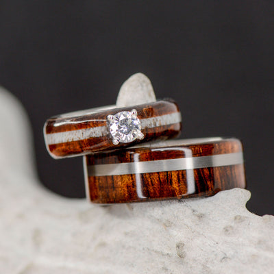 Koa Wood, Antler, & Diamond Setting