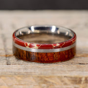 Red Agate with Gold Web, Koa Wood, & Metal Pinstripe