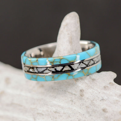The Megalodon Ring - Turquoise, Shark Teeth, & Metal Pinstripes