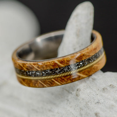 Jack Daniels Barrel Wood, Meteorite, & Brass Guitar String