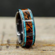 Black Zirconium, Rosewood, Turquoise and Engraved Mountain/Waves