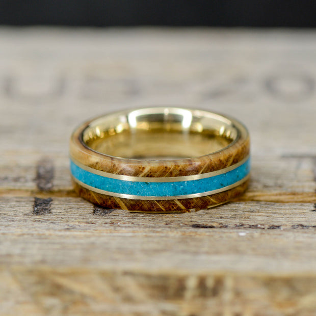 Turquoise, Jack Daniels Wood, & Yellow Gold Pinstripes
