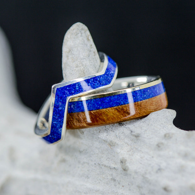 Yellow Gold, Spalted Maple, Lapis, & V-Ring