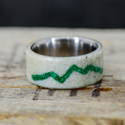 SALE RING - Elk Antler with Mountain Engraving in Green Malachite - Size 6.75
