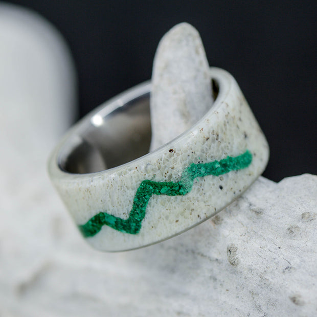 Elk Antler with Mountain Engraving in Green Malachite