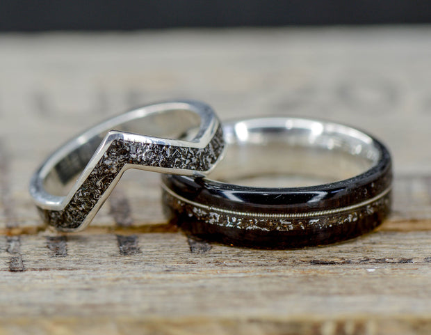 Blackwood, Guitar String, & Meteorite V-Ring