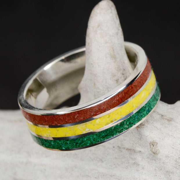 Rasta Ring - Green Malachite, Yellow Canary, & Red Opal