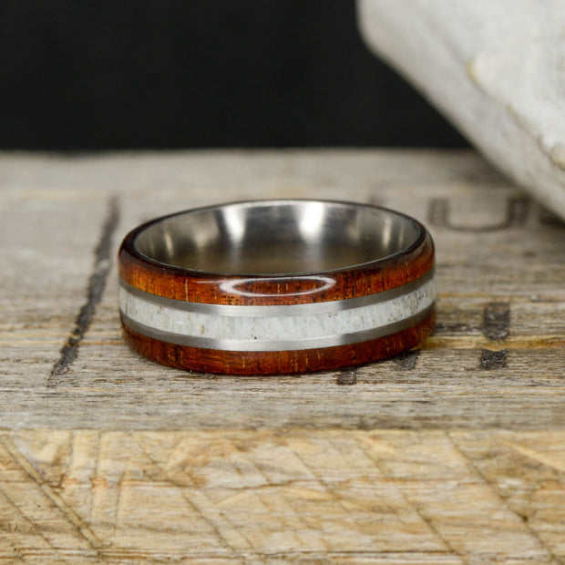 Antler, Koa Wood, & Metal Pinstripes
