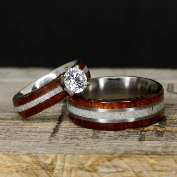 Koa Wood, Antler, Moissanite Setting, & Metal Pinstripes