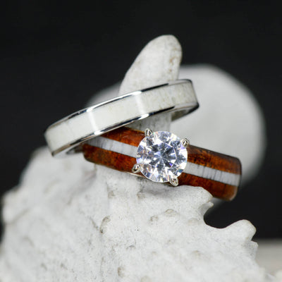 Diamond Solitaire Ring and Koa Wood with Antler Stacking Band