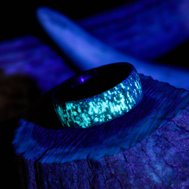 Glow Antler Ring - Elk Antler with Glow Inlays
