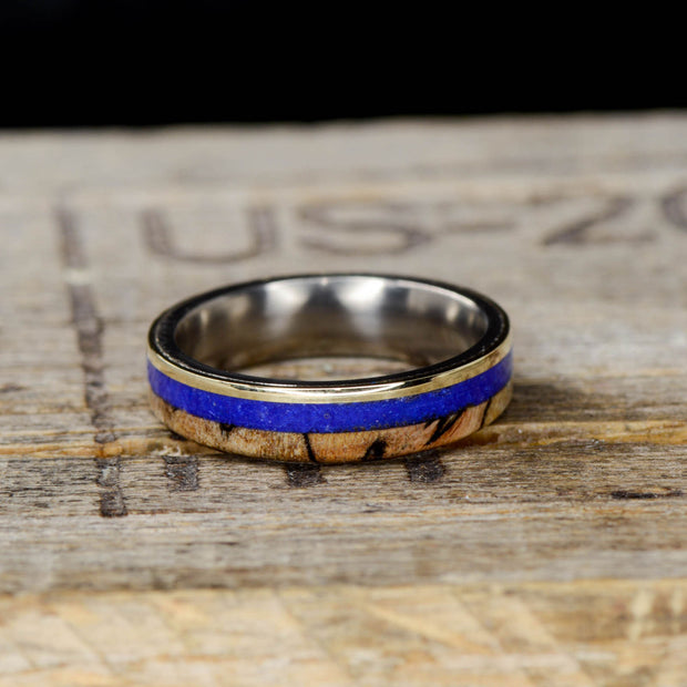 Spalted Maple, Lapis Lazuli, & Yellow Gold