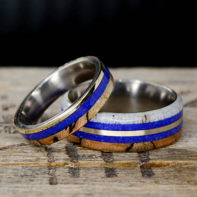 Antler, Lapis, Yellow Gold, & Spalted Maple