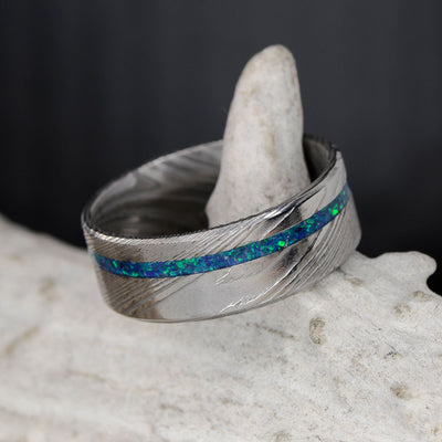 Damascus Steel & Offset Blue Opal