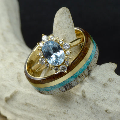 Oval Aquamarine Halo Ring with Diamonds & Walnut, Yellow Gold, Turquoise, & Antler