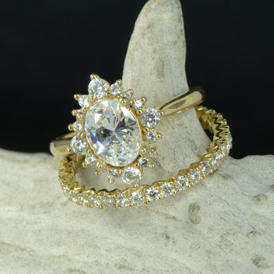 Oval Halo Ring with French Cut Diamond Stacking Band