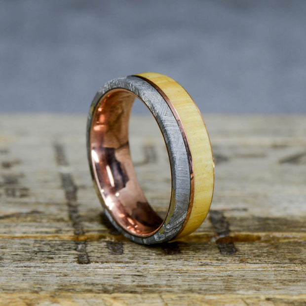 Etched Gibeon Meteorite, Maple Wood, & Rose Gold