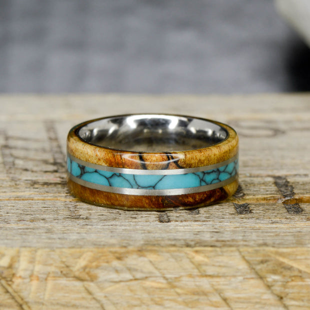 Spalted Maple Wood, Turquoise, & Metal Pinstripes
