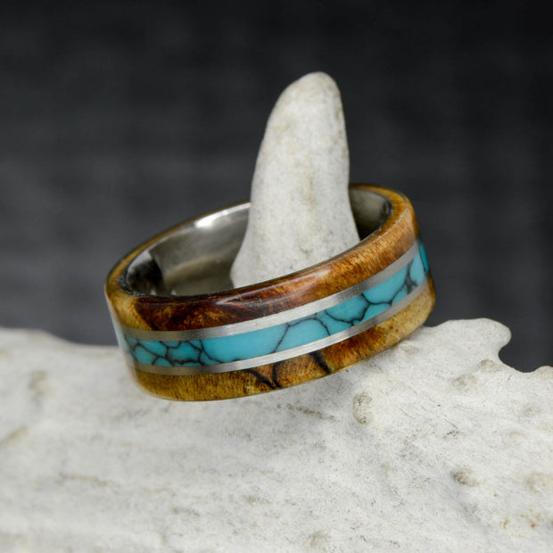 Spalted Tamarind Wood, Turquoise, & Metal Pinstripes