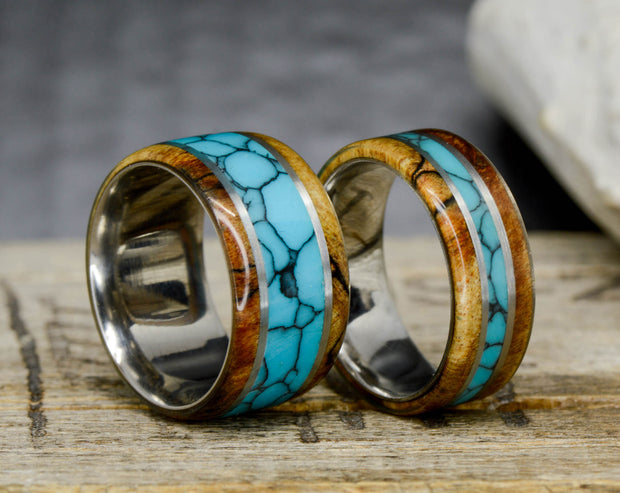 Spalted Maple, Metal, and Turquoise