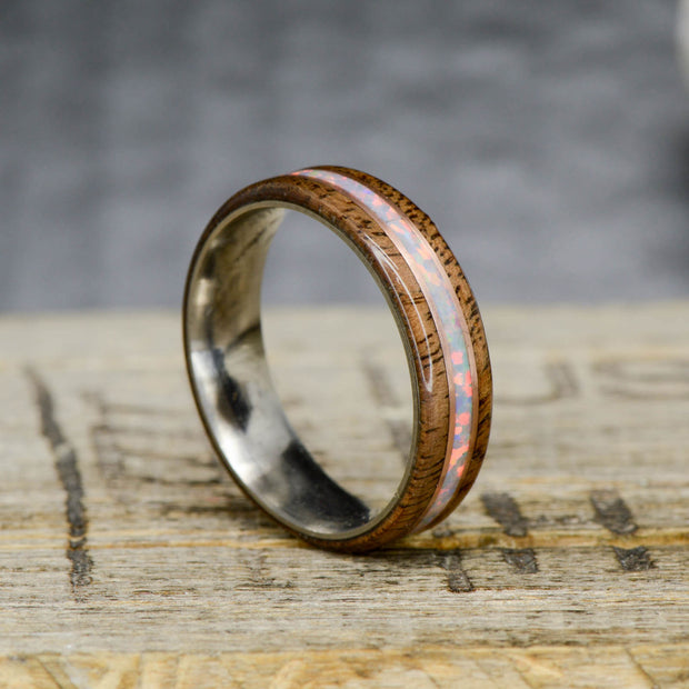 Walnut, White Opal, & Rose Gold Pinstripes 6mm