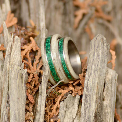 Antler, Green Malachite, & Metal Pinstripes - 8mm & 6mm