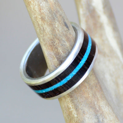 Blackwood & Turquoise in Tungsten or Ceramic Channel