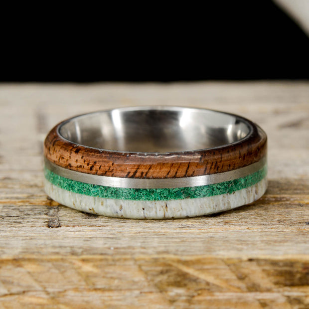 Walnut, Metal, Malachite, & Antler